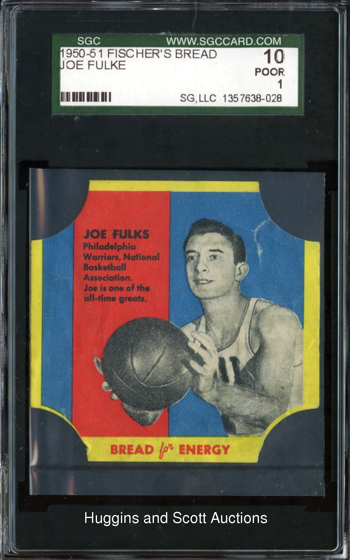 1950 51 Fischer s Bread Label Joe Fulks SGC 10 ly Graded